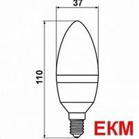 "LED лампа светодиодная 6W С37 E14 свеча ""Standart"" 510lm 4000К мат. стекло чип: Epistar ""LedStar"" 100619"